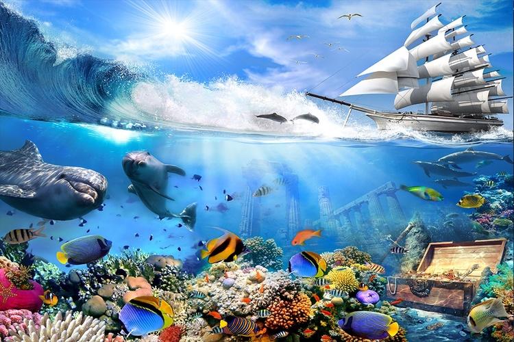 3D фотообои 5D картина  «Морские глубины» вид 1