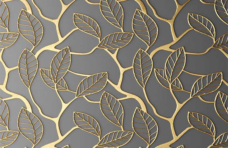3D Ковры 3D Ковер «Узор с золотыми листьями» вид 1