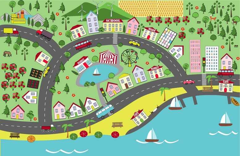 3D Ковры 3D Ковер «Городок на побережье» вид 1