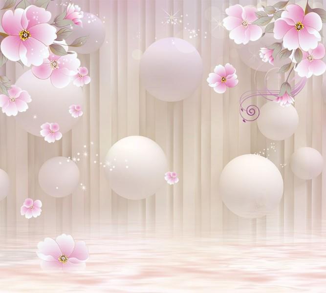 Фотошторы «Шары над водой с цветочными ветвями»