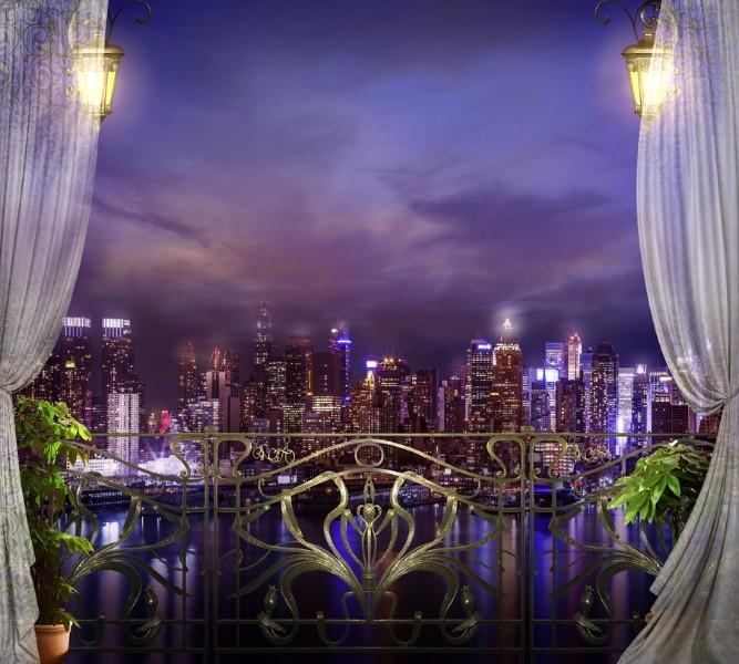 Фотошторы «Балкон с видом на ночной город» вид 1