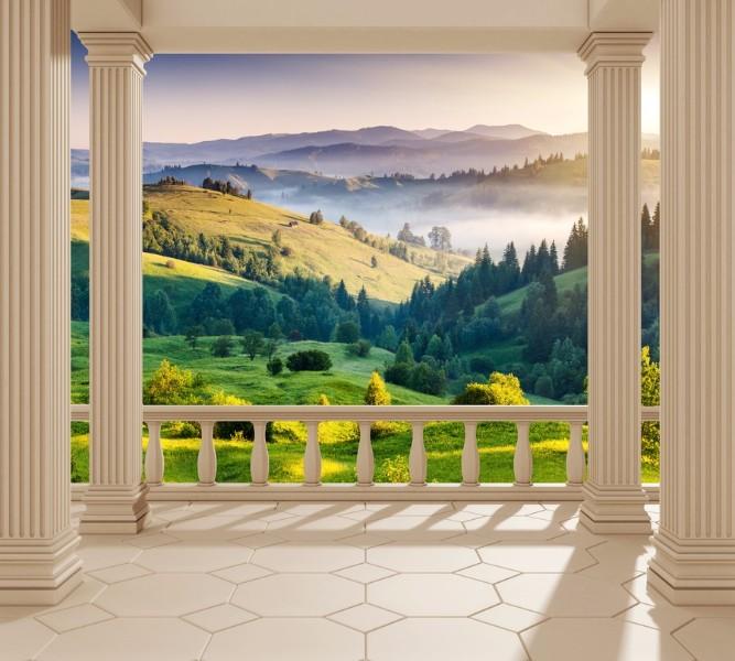 Фотошторы «Балкон с видом на альпийское утро» вид 1