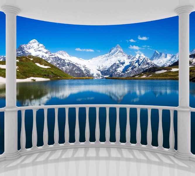 Фотошторы «Балкон с видом на горы» вид 1