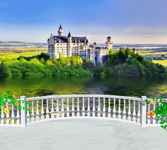 Фотошторы «Балкон с видом на замок» вид 1