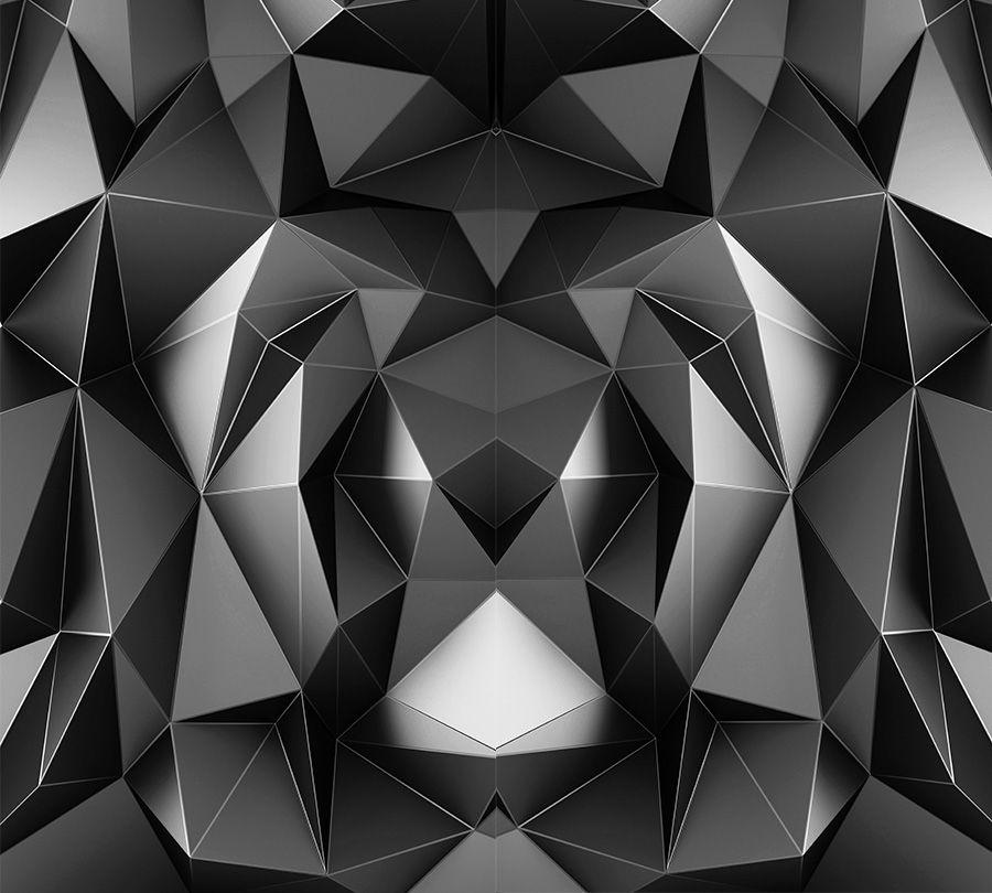 3D Фотообои Фотошторы «Темные полигоны»