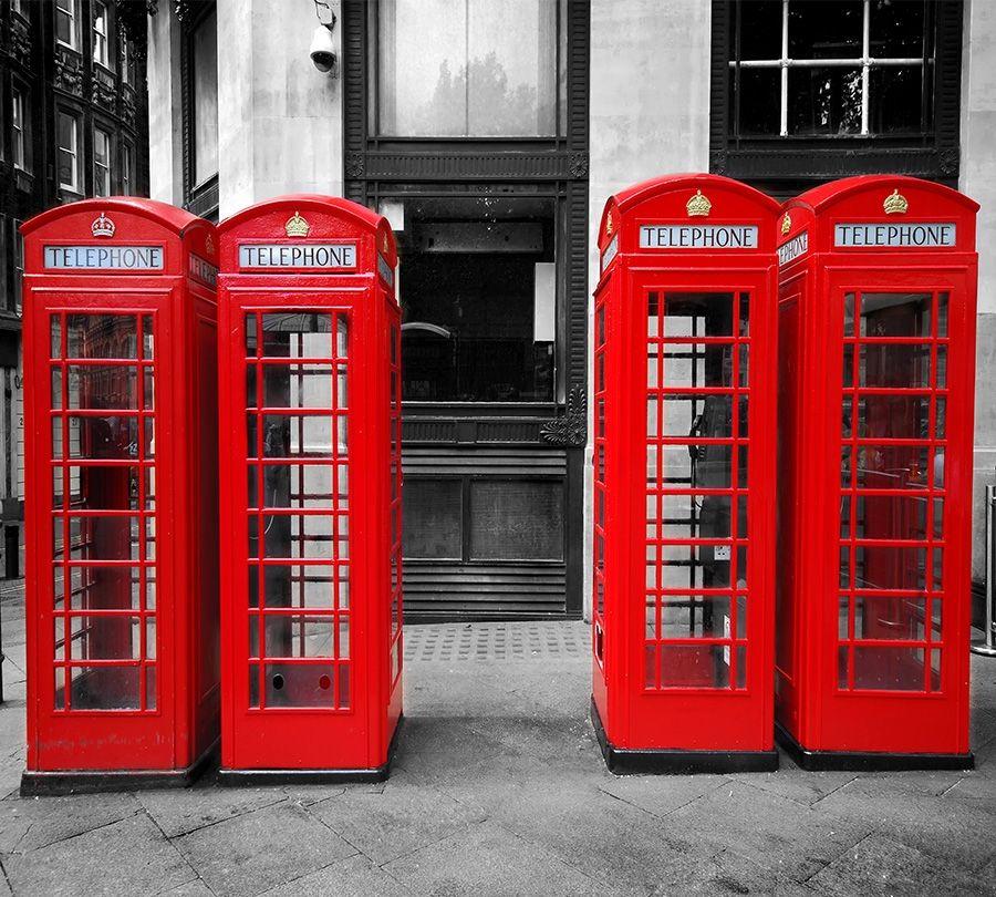 3D Фотообои Фотошторы «Телефонные будки»