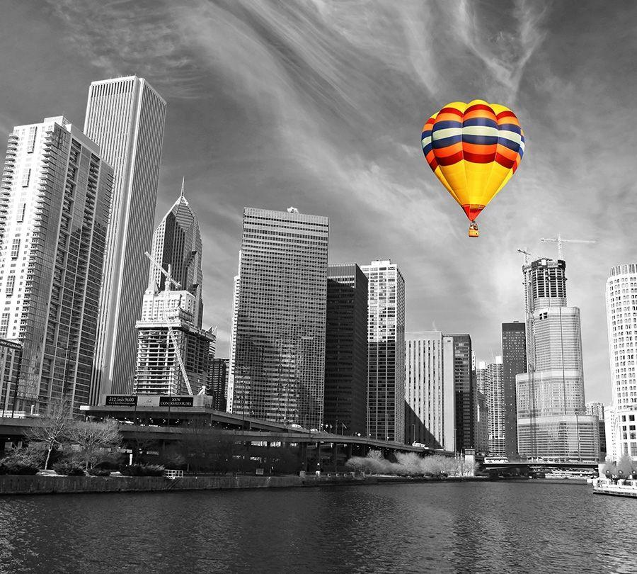 3D Фотообои Фотошторы «Воздушный шар в мегаполисе»