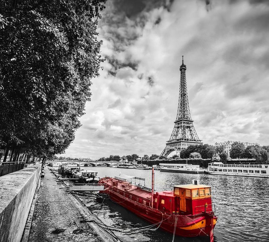 3D Фотообои Фотошторы «Эйфелева башня у реки»