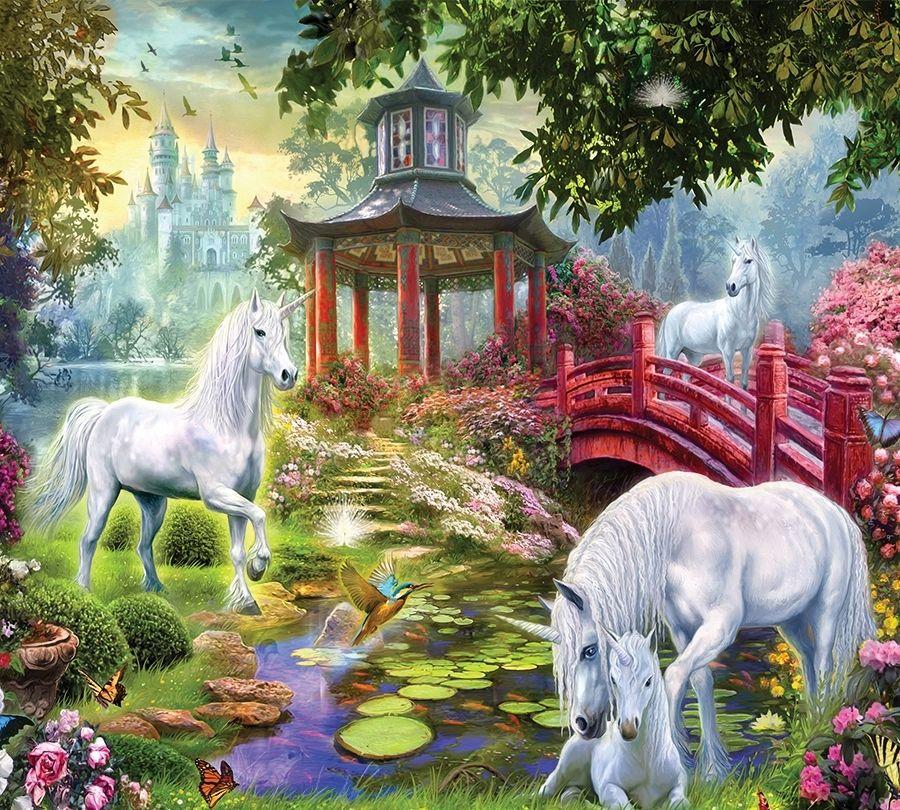 Фотошторы «Единороги в китайском саду» вид 1