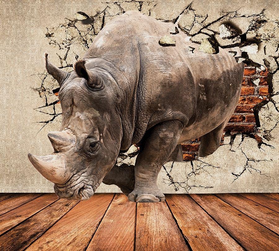 3D Фотообои Фотошторы «Носорог сквозь стену»