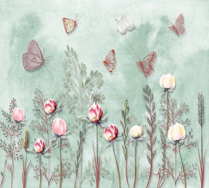 Фотошторы «Бабочки в саду» вид 1