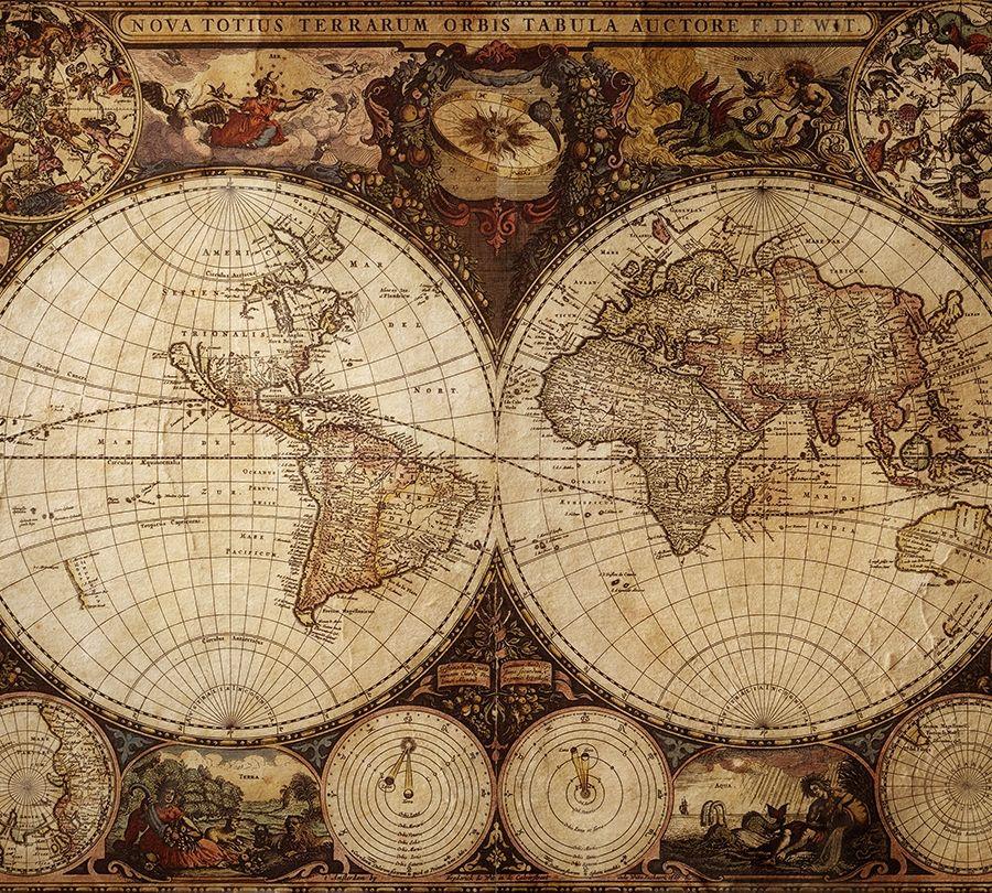 3D Фотообои Фотошторы «Карта мира»