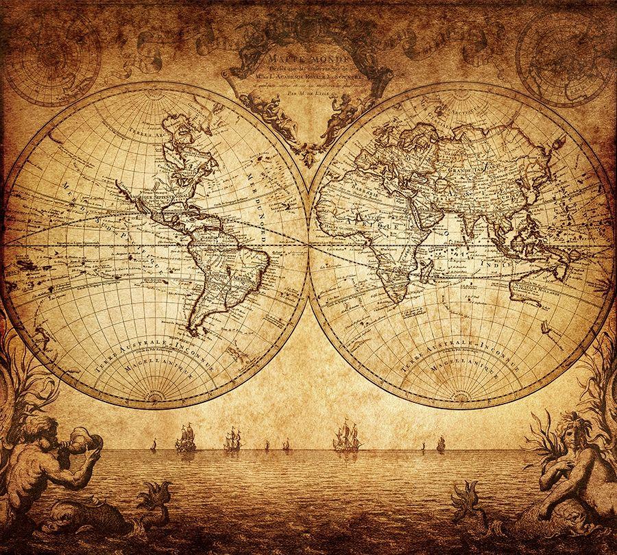 Фотошторы «Старинная карта мира» вид 1