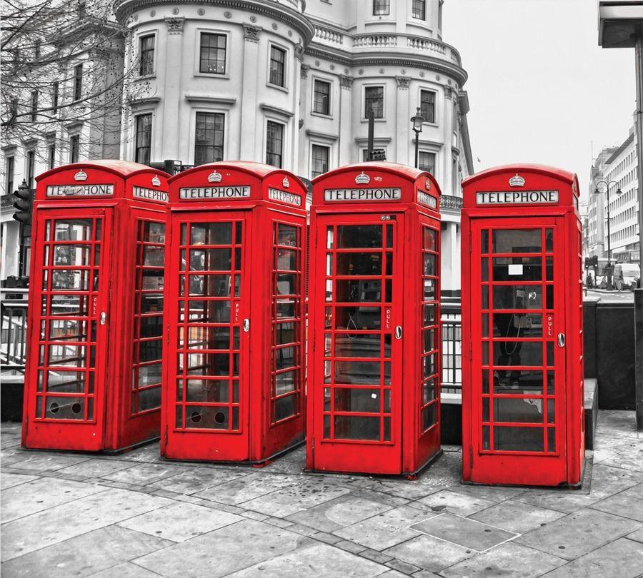 3D Фотообои Фотошторы «Красные будки»