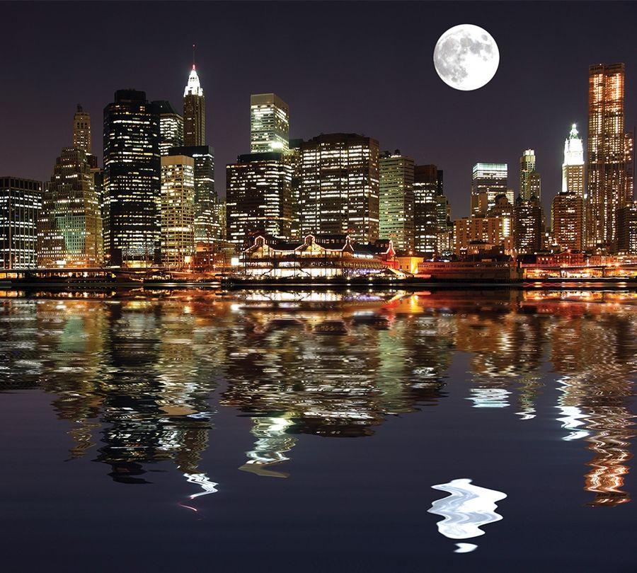 Фотошторы «Луна над ночным городом» вид 1
