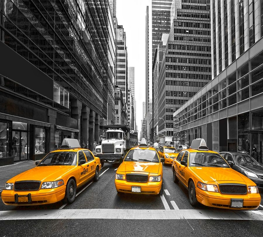 3D Фотообои Фотошторы «Такси Нью-Йорка»