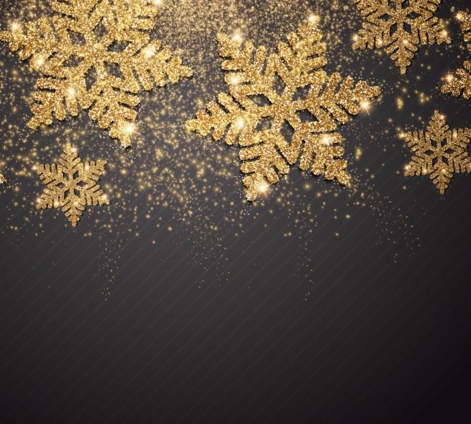 3D Фотообои Фотошторы «Композиция с золотыми снежинками»