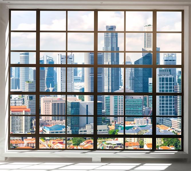 3D Фотообои Фотошторы «Окна с панорамным видом на город»