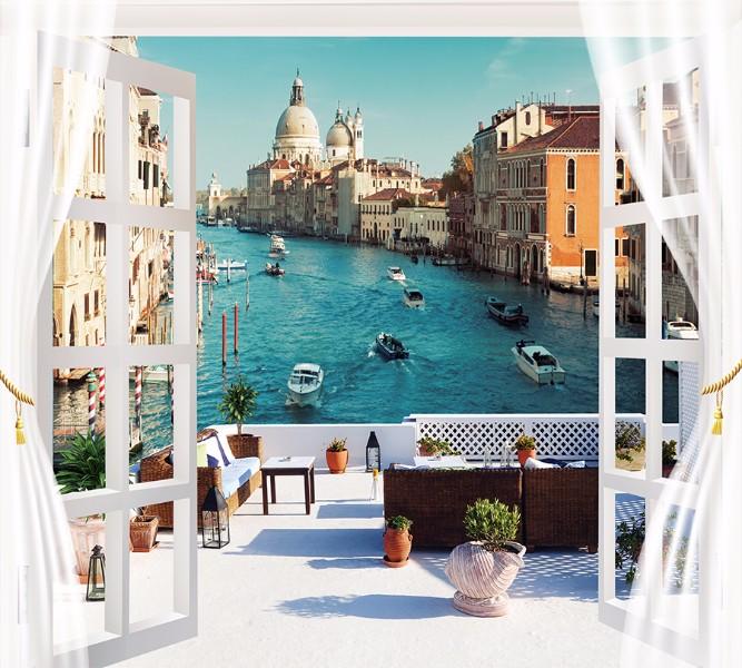 3D Фотообои Фотошторы «Окно-балкон в Венеции»