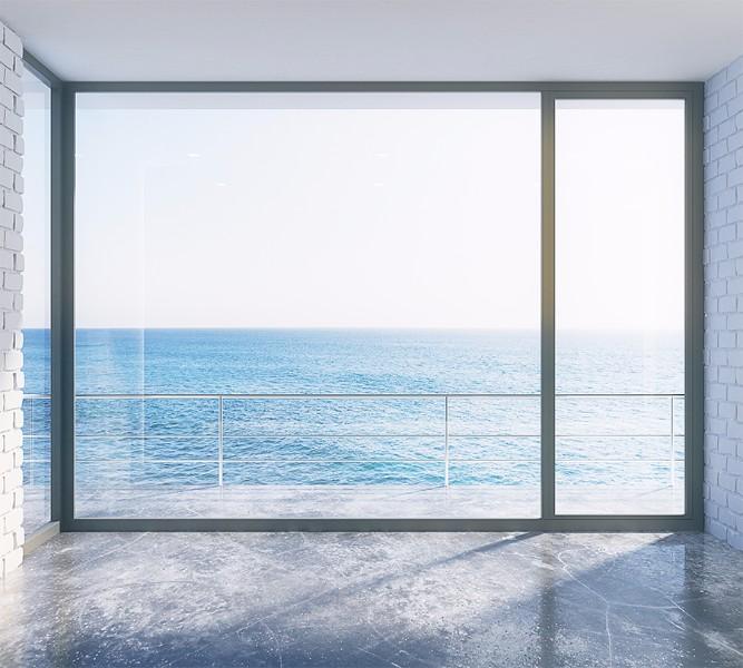 3D Фотообои Фотошторы «Окно-терраса»