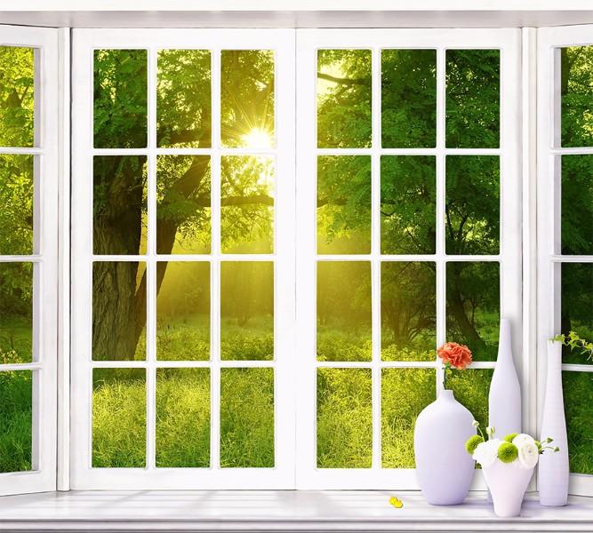 3D Фотообои Фотошторы «Панорамное окно»