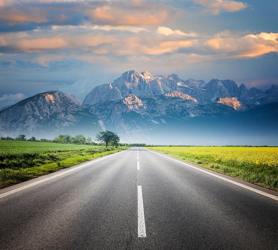 Фотошторы «Дорога ведущая к горам»