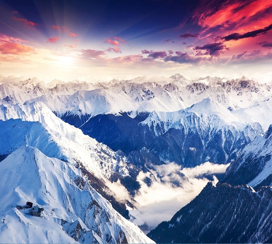 Фотошторы «Рассвет в горах»