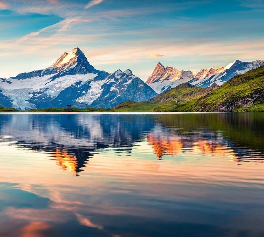 3D Фотообои Фотошторы «Утренний горный пейзаж»