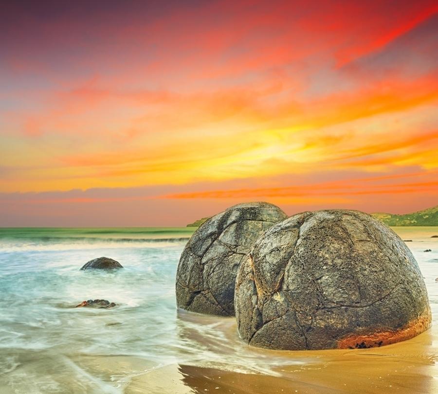 3D Фотообои Фотошторы «Большие камни на закате»