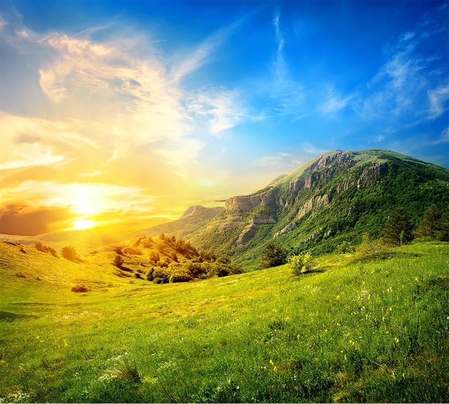 Фотошторы «Рассвет над холмами» вид 1