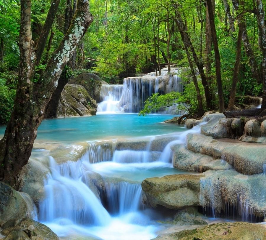 Фотошторы «Водопад в зеленом лесу» вид 1