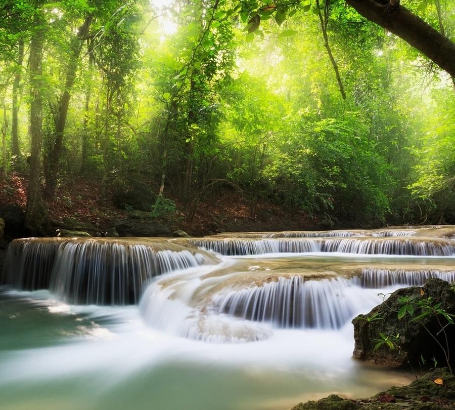 Фотошторы «Водопад в солнечном лесу» вид 1