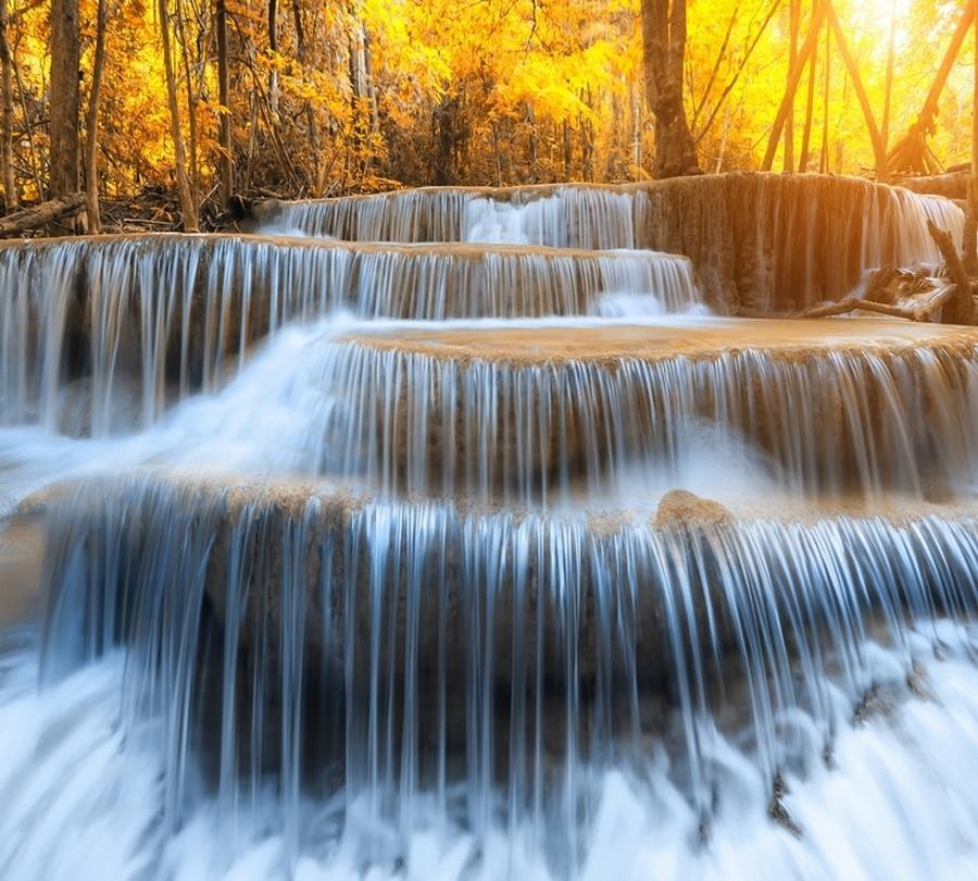 Фотошторы «Водопад на рассвете» вид 1