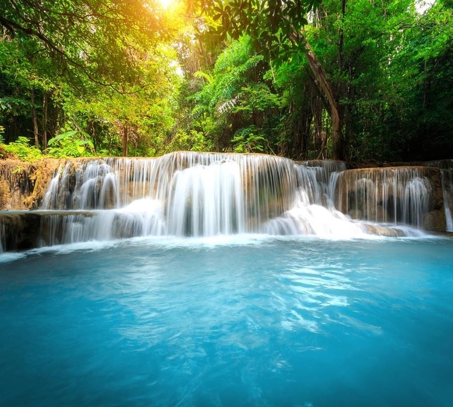 3D Фотообои Фотошторы «Водопад с голубой водой»