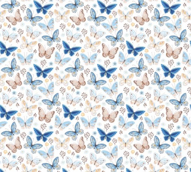 Фотошторы «Бежевые и голубые бабочки» вид 1