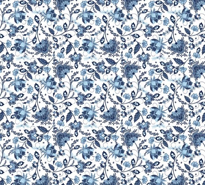 Фотошторы «Цветочный узор с голубым оттенком» вид 1