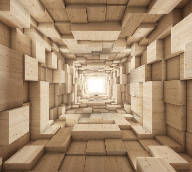 Фотошторы «Тоннель из деревянных кубов» вид 1