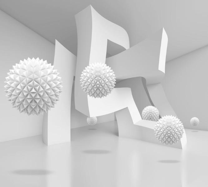 Фотошторы «Абстрактный интерьер с колючими сферами» вид 1