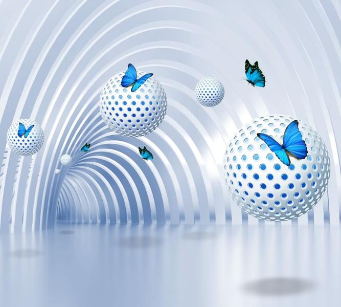 Фотошторы «Футуристичный тоннель с бабочками»