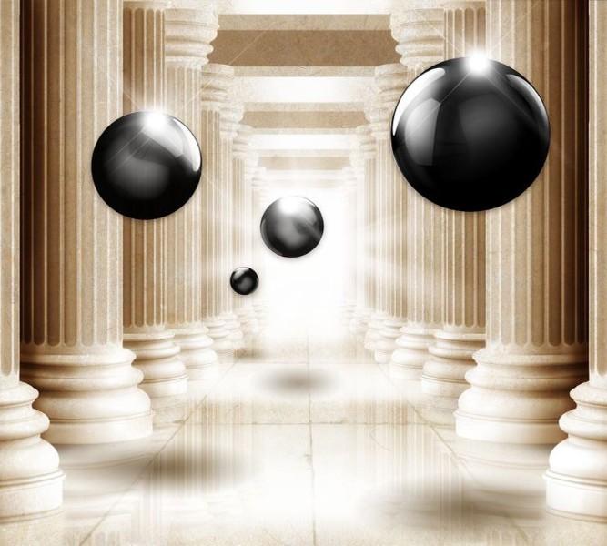 Фотошторы «Черный жемчуг среди античных колонн»