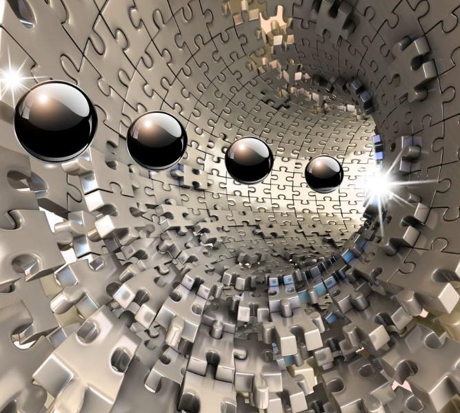 Фотошторы «Шары в тоннеле из пазла»