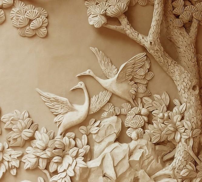 3D Фотообои Фотошторы «Журавли резьба по дереву»