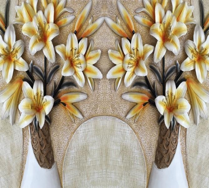 Фотошторы «Объемные лилии в вазах» вид 1