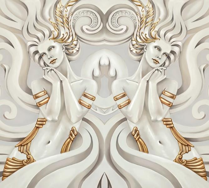 3D Фотообои Фотошторы «Мечтающие богини»