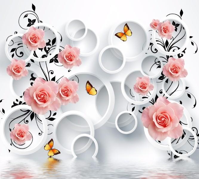 Фотошторы «Бутоны роз над водой» вид 1