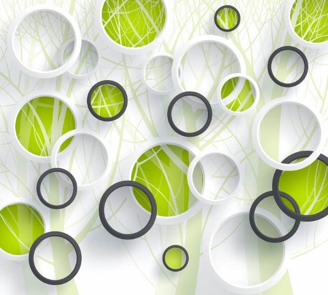 Фотошторы «Объемные зеленые круги» вид 1
