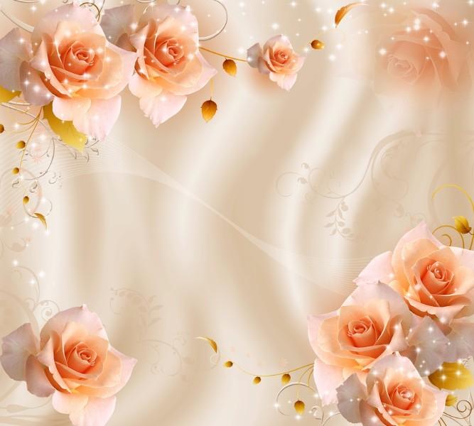 Фотошторы «Композиция с бежевыми розами» вид 1