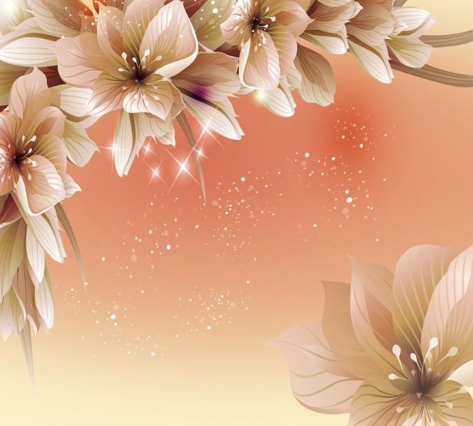 Фотошторы «Персиковая инсталляция с цветами» вид 1