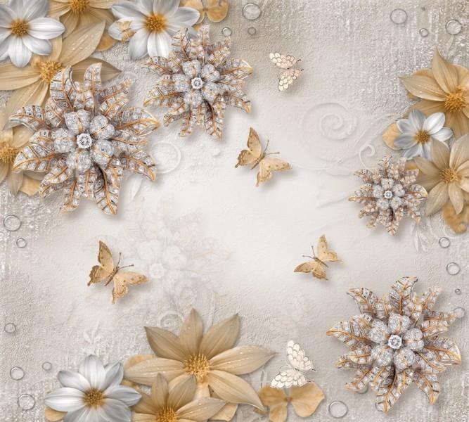 """Фотошторы """"Объемные цветы со стразами и бабочками"""""""