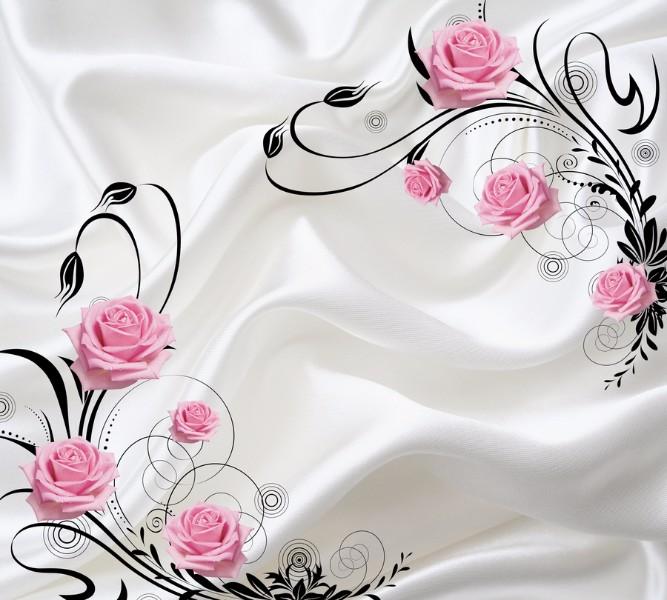 """Фотошторы """"Розы на шелке"""" вид 1"""